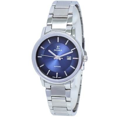 SIGMA 質感簡約藍寶石時尚情人女錶-藍X銀/30mm