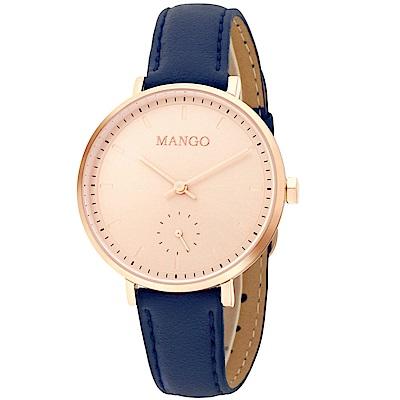 MANGO 簡約玫瑰金面透明刻度手工皮革錶-藍色/34mm