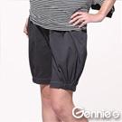 日本布料【Gennie's奇妮】極簡休閒抽褶春夏孕婦五分褲-深灰(C4X04)