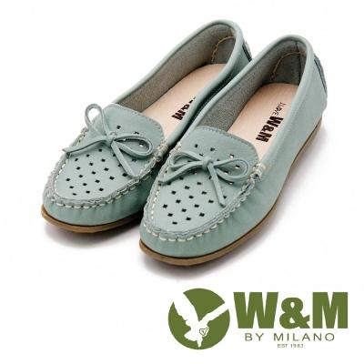 W&M 可水洗蝴蝶結洞洞豆豆鞋 女鞋-綠(另有粉/黃)
