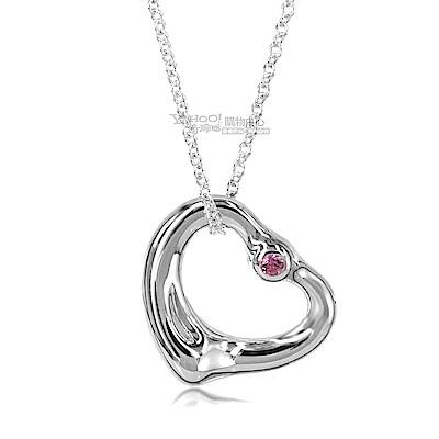 Tiffany&Co. Open Heart 925純銀愛心鑲粉紅寶石墜飾項鍊