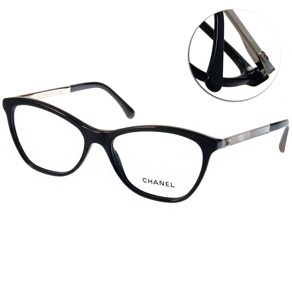 Chanel眼鏡 經典LOGO款/黑-銀#CN3330H C501