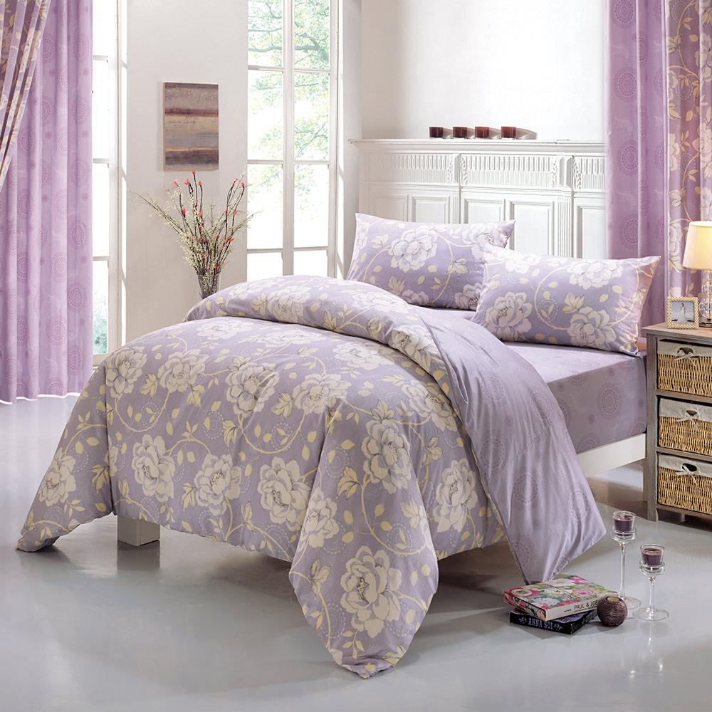 鴻宇HongYew 300織精梳棉-貝琳達 紫-雙人床包三件組