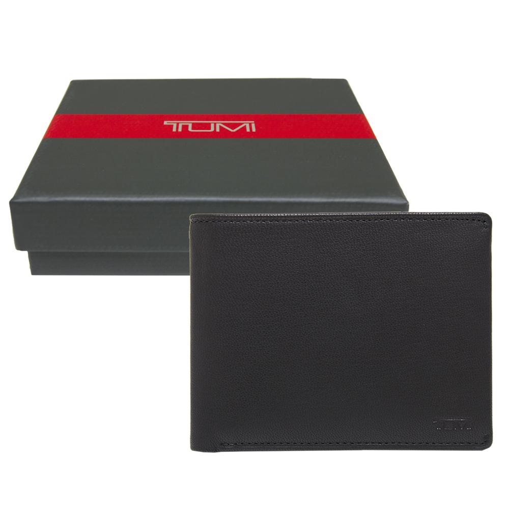 TUMI壓印LOGO全牛皮雙折短夾-黑色附原廠禮盒