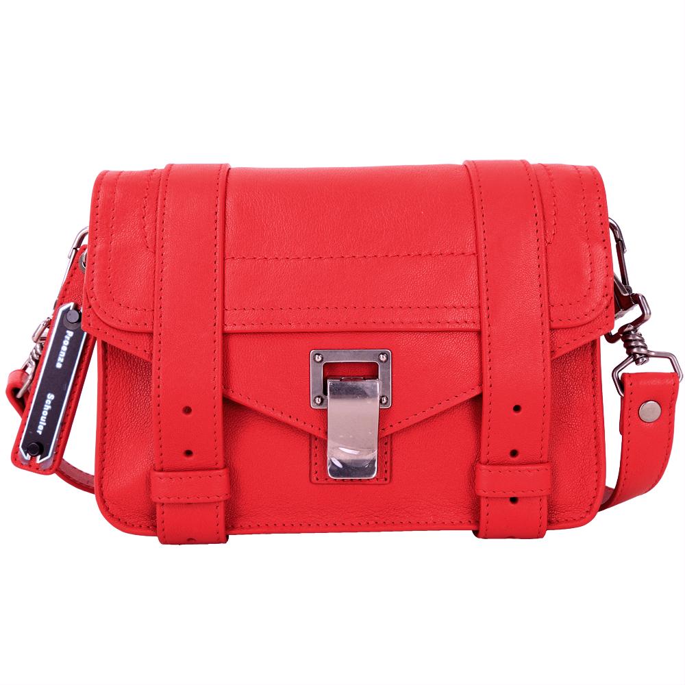 (無卡分期12期) PROENZA SCHOULER Mini Pouch山羊皮革斜背包(紅色)