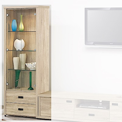 H&D 原切橡木2尺展示櫃 (寬64.3X深39.5X高182cm)