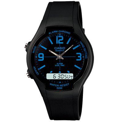 CASIO 酷炫經典指針雙顯錶(AW-90H-2B)-黑/藍時標/39mm