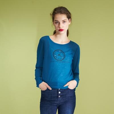 Hana+花木馬 好感時尚造性印花百搭棉質上衣-藍(2色)