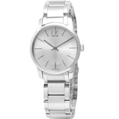 cK City 城市時尚‧弧型切面不鏽鋼腕錶-銀白/31mm