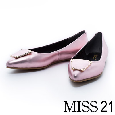 MISS 21 梯型釦飾繽紛金屬牛皮尖頭平底鞋-粉