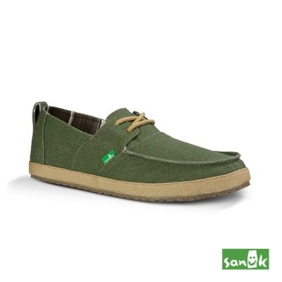 SANUK 牛仔布內漸層綁帶休閒鞋-男款(墨綠色)