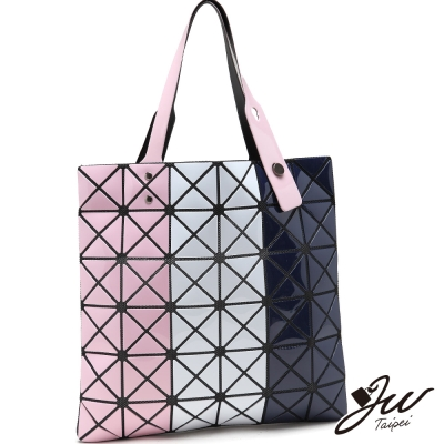 JW魔幻漆皮幾何直式三色拼貼變形包-共4色-粉白藍