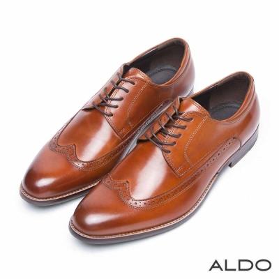 ALDO-真皮英式雕花綁帶式牛津尖頭鞋-雅痞棕色