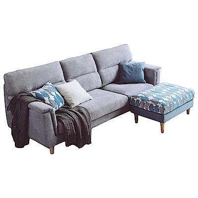 Bernice-范恩L型布沙發(三人座+腳椅)(送抱枕)