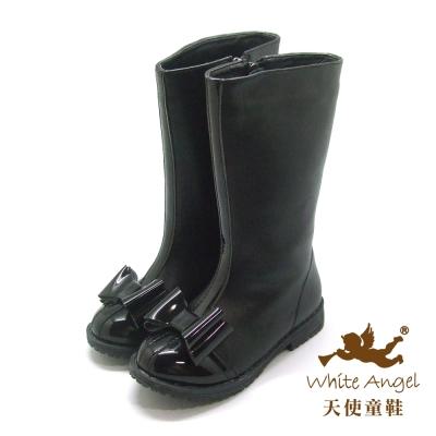 天使童鞋 氣質蝴蝶結長筒靴 黑 C280