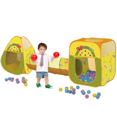 寶貝樂三角四角蝴蝶帳篷附隧道折疊遊戲球屋送100球