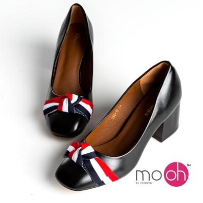 mo.oh -復古藍白紅三色帶蝴蝶結方頭粗跟鞋