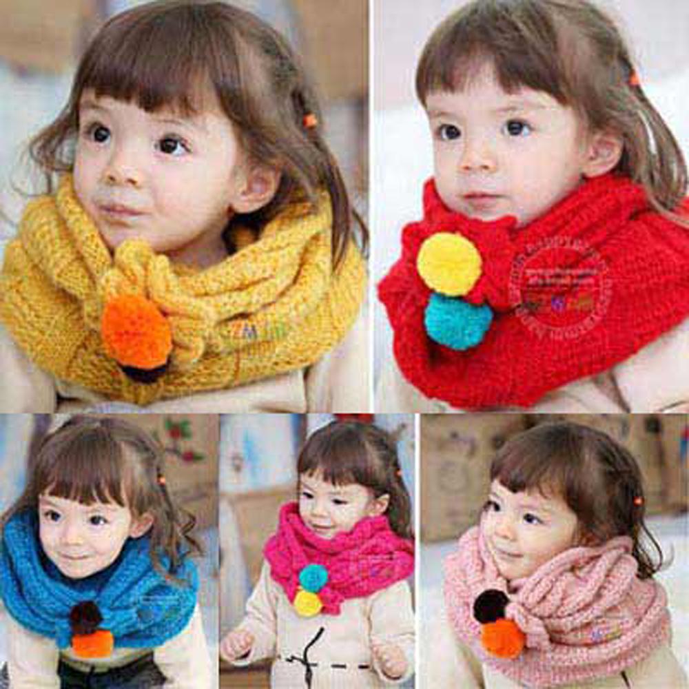 韓版-可愛彩色雙球造型時尚脖圍