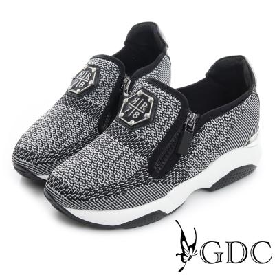 GDC舒適-雙拉鍊編織厚底真皮運動風休閒鞋-槍灰色