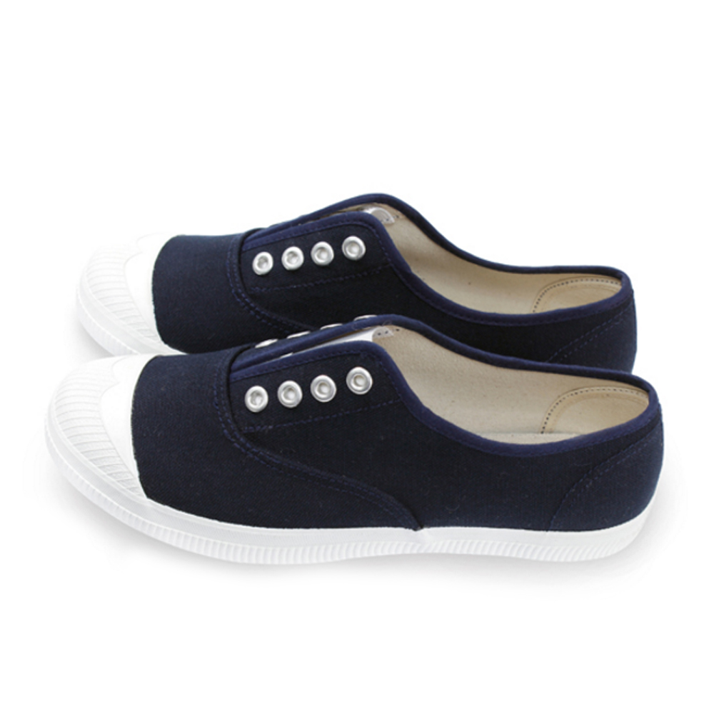 FUFA  MIT 百搭彈性帆布休閒懶人鞋 (A43) -深藍色