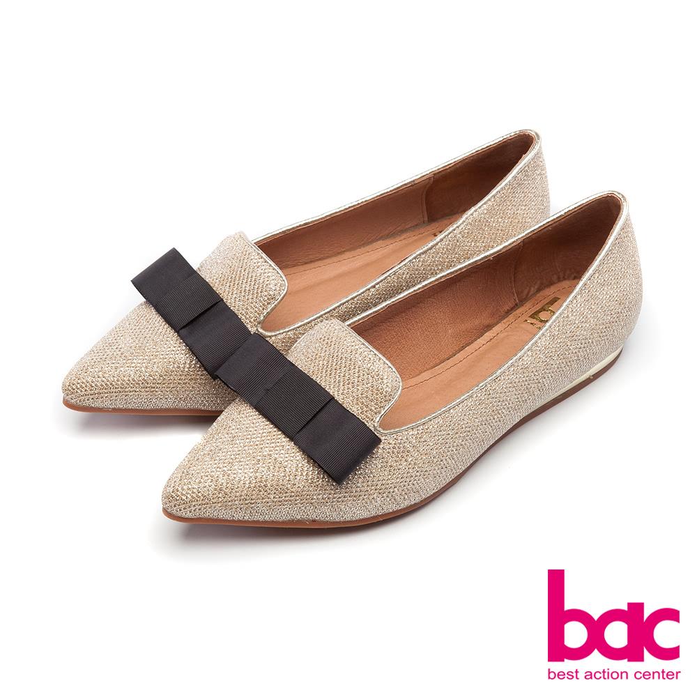 bac裝飾主義-閃耀光芒鑽石般百搭楔型樂福鞋-金 @ Y!購物