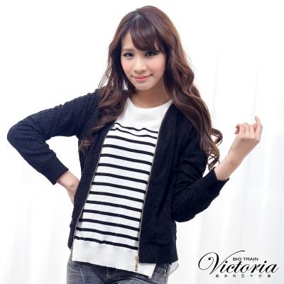 Victoria 無領蕾絲長袖外套-女-黑