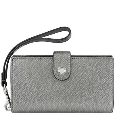 COACH-銀灰色皮革壓紋壓釦手機袋中夾