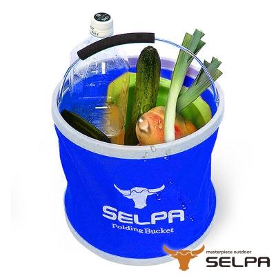 韓國SELPA 收納大容量可摺疊多用途水桶 藍色