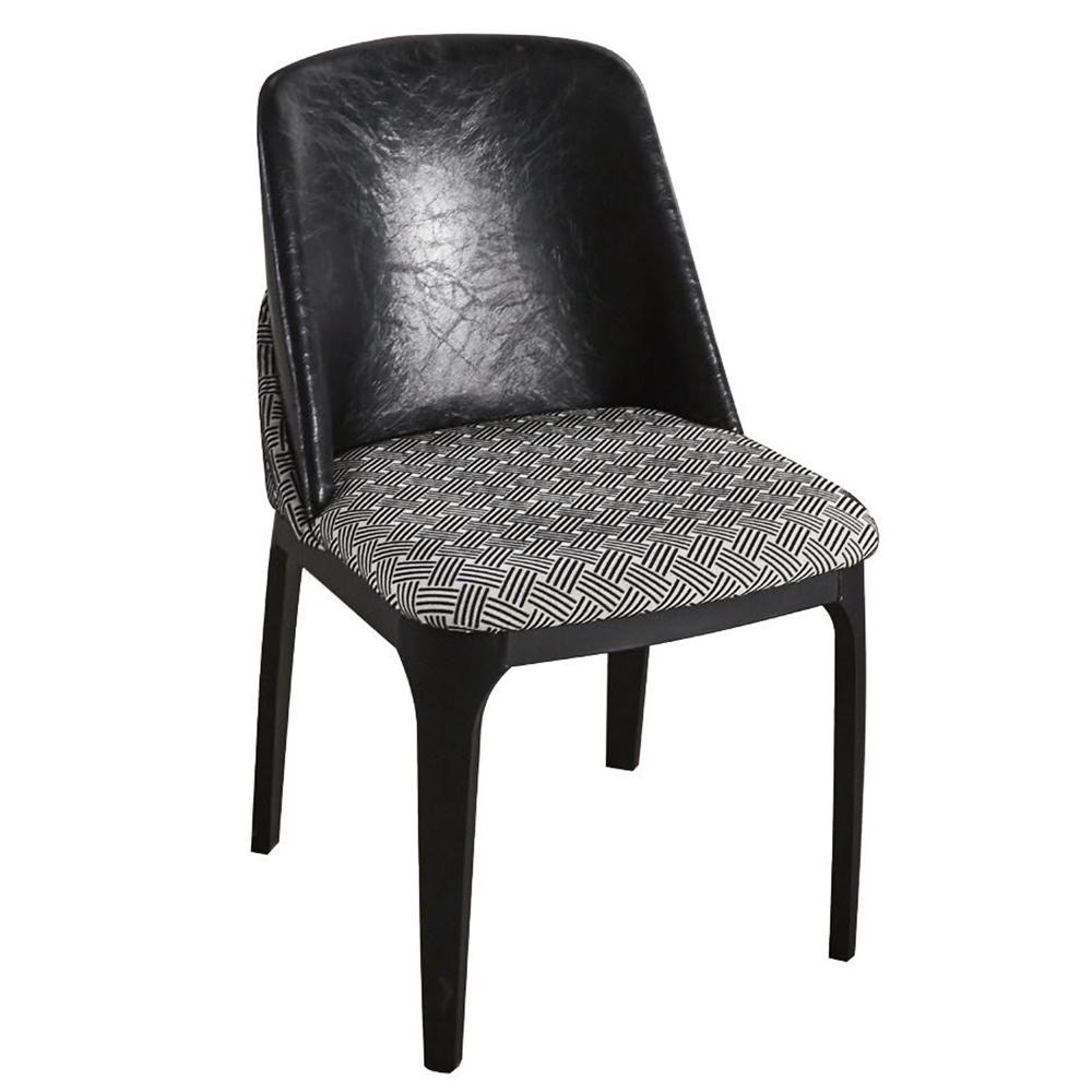 AT HOME-凡諾斯雙色編織紋布面鐵藝餐椅(53*48*80cm)