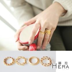Hera 赫拉磨砂鍊條切紋四件組戒指/關節戒(金色)