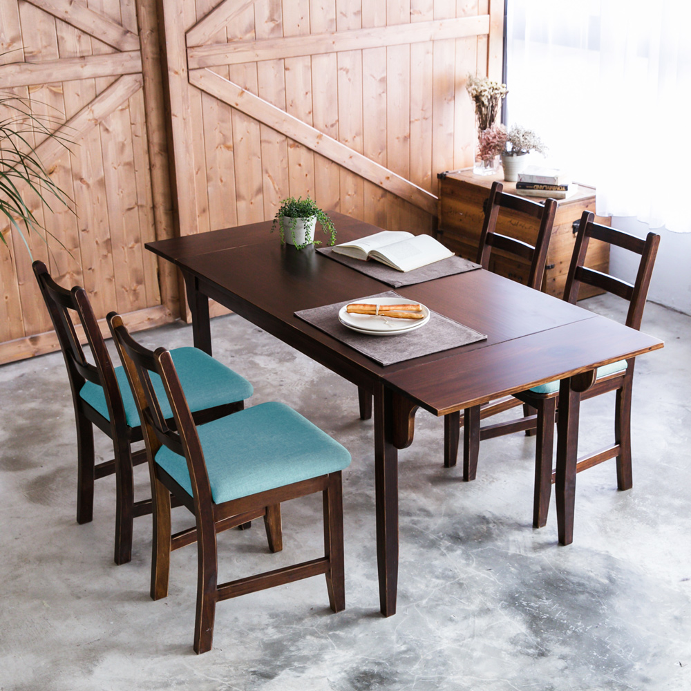 CiS自然行-雙邊延伸實木餐桌椅組一桌四椅74x166公分/焦糖+湖水藍椅墊