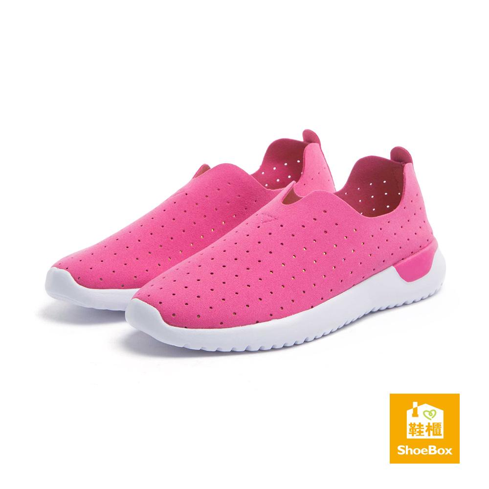 達芙妮DAPHNE ShoeBox系列 運動鞋-超纖布沖孔懶人運動鞋-梅紅
