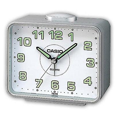 CASIO 夜間指針桌上方型簡約鬧鐘(TQ-218-8DF)-銀X白面