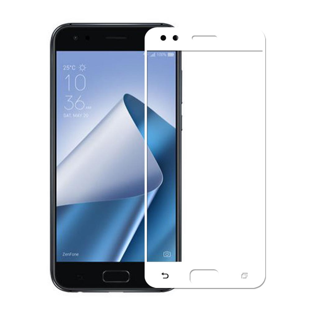 【贈環保吸管組】ASUS Zenfone4 ZE554KL全膠滿版鋼化日規玻璃保貼-白