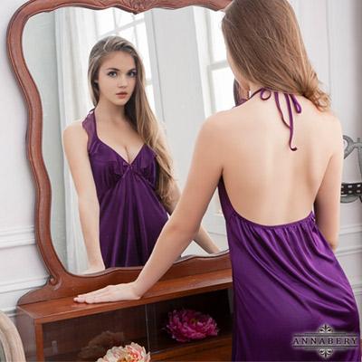 大尺碼 荷葉領深紫柔緞睡衣L-2L Annabery