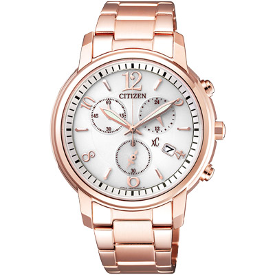 CITIZEN 星辰xC 光動能 三眼計時腕錶(FB1432-55A)-玫瑰金/36mm