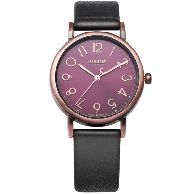 JULIUS聚利時 我的小宇宙立體刻度皮錶帶腕錶-黑色/33mm