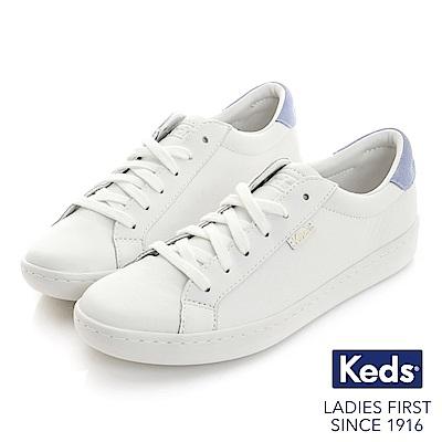 Keds ACE復古運動皮質綁帶休閒鞋-白/粉紫