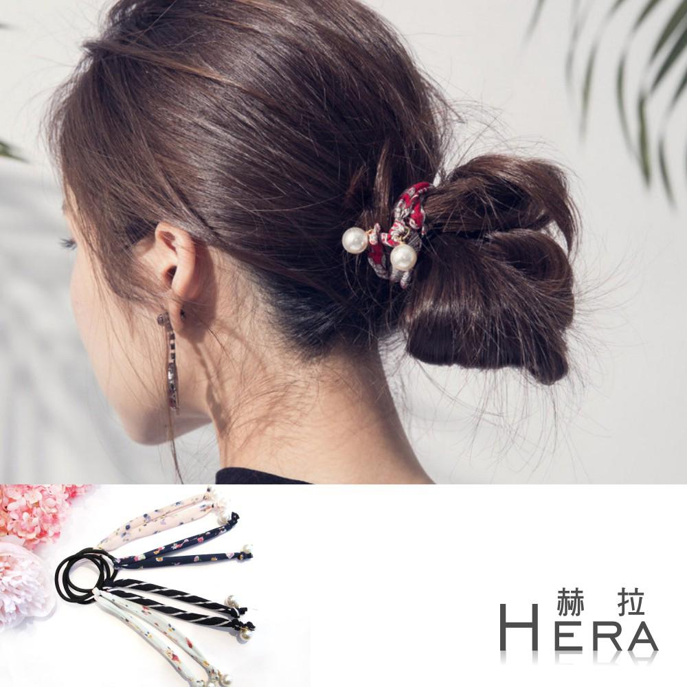 Hera  可盤髮印花珍珠吊墜髮圈/髮束(四款)