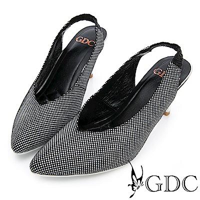 GDC~ 羊皮氣質格紋懶人跟鞋~黑色