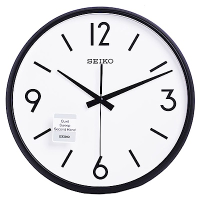 SEIKO 精工 極簡風格 滑動式秒針 靜音 時鐘 掛鐘(QXA677K)-35cm