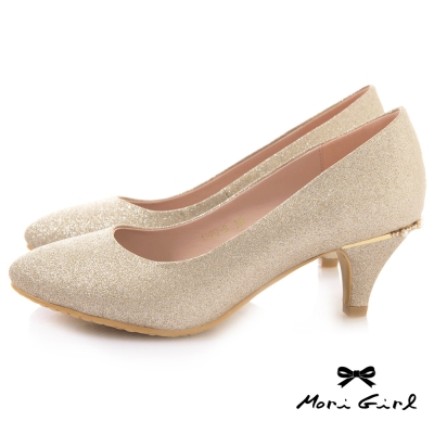 Mori girl光澤亮片後水鑽珍珠中低跟婚鞋 金