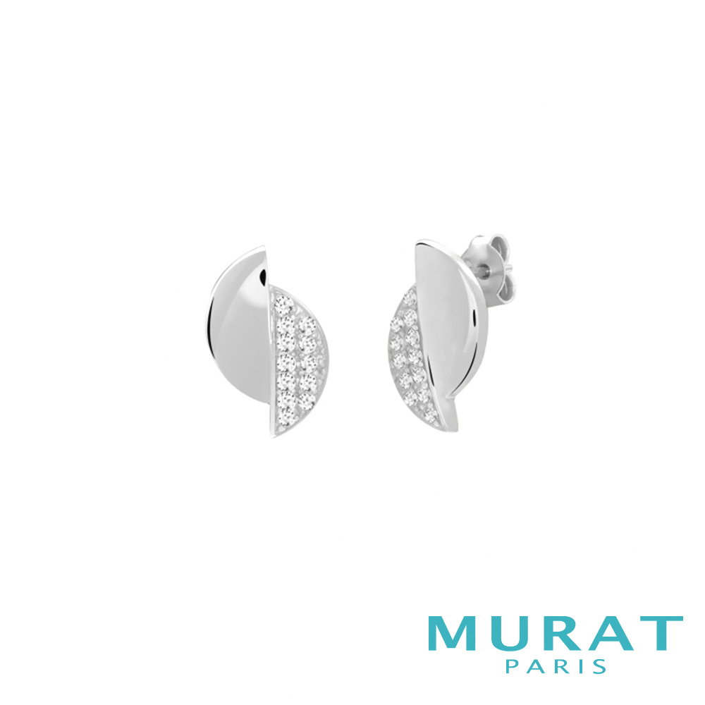 MURAT Paris米哈巴黎 質感交錯半月型耳環