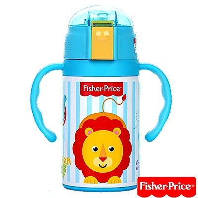 費雪Fisher-Price-三合一不繡鋼彈跳保溫杯禮盒組-280ml-藍