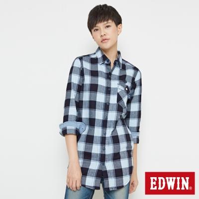 EDWIN EDOKATSU江戶勝長版襯衫-中性-丈青