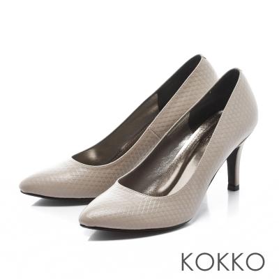 KOKKO- 時髦尖頭菱格壓紋真皮高跟鞋-奶茶灰