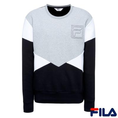 FILA 男款長袖圓領T恤-黑1TER-1400-BK