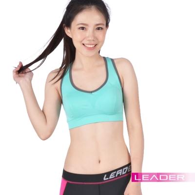 (快速到貨) Leader 女性專用 機能壓縮可拆胸墊運動背心 亮綠色