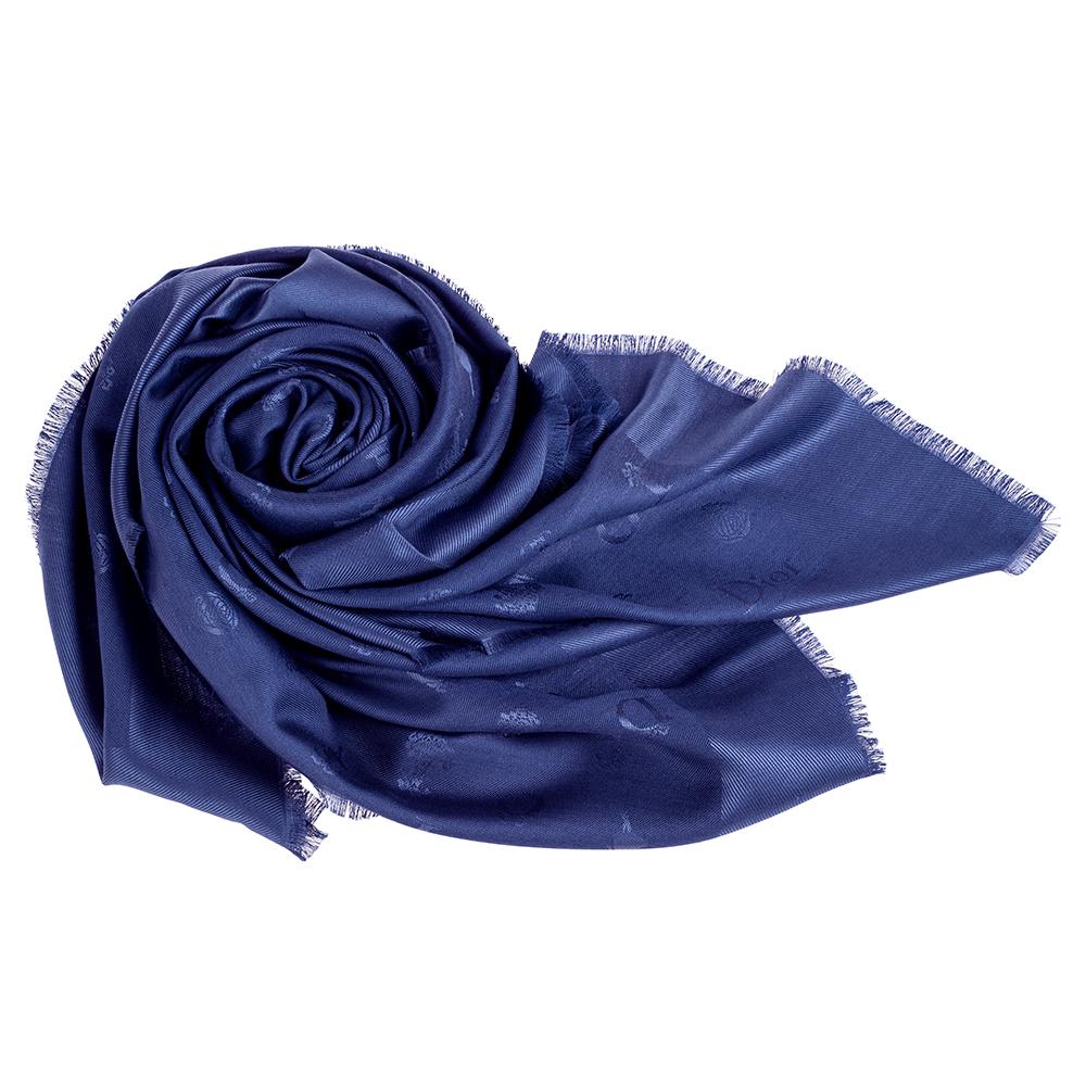 DIOR SO DIOR羊毛真絲披肩圍巾藍色140X140