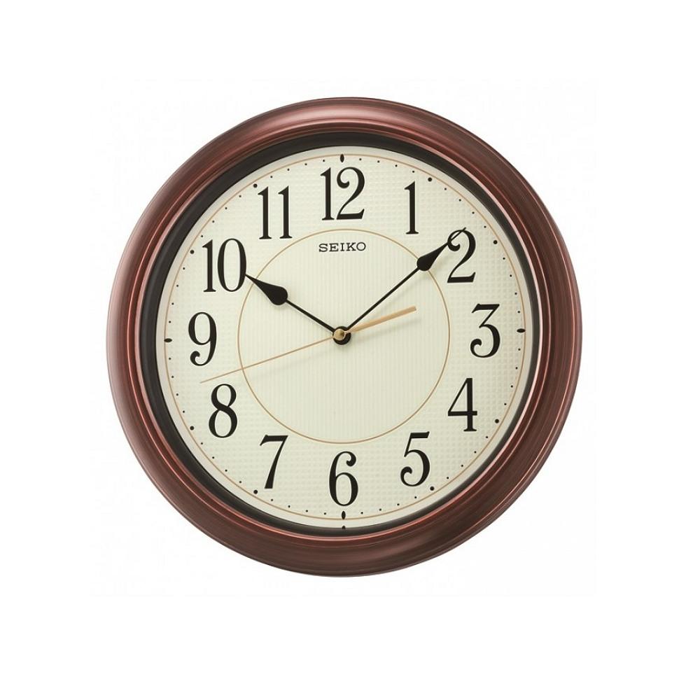 SEIKO 精工 仿木紋 夜光恆動式秒針靜音掛鐘-夜光綠/32.4cm